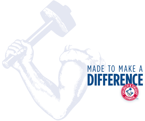 Made to make a difference. Church & Dwight logo.